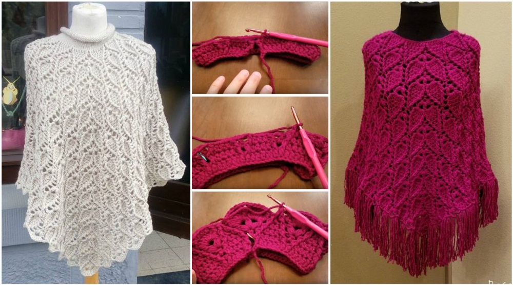 Leaf Stitch Poncho Crochet Tutorial Yarnandhooks