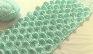 Crochet 3D Peacock Feather Stitch Scarf