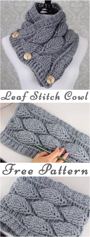 Crochet Leaf Stitch Cowl Free Pattern Yarnandhooks