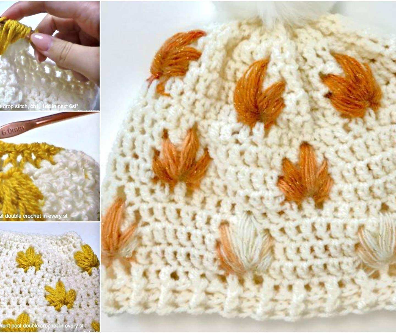 Leafly Autumn Hat Crochet Pattern + Video