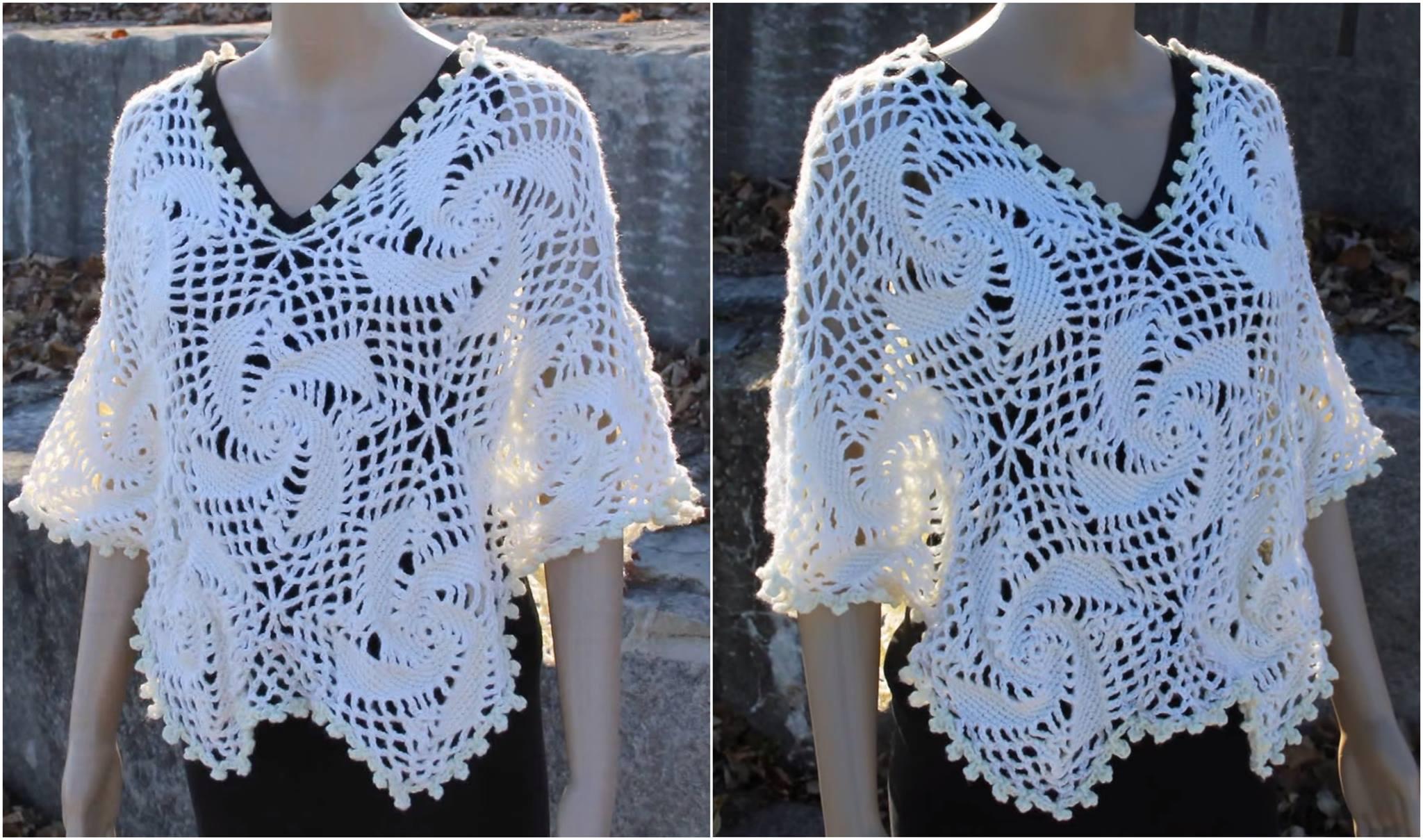 Lace Motifs Poncho Free Crochet Pattern