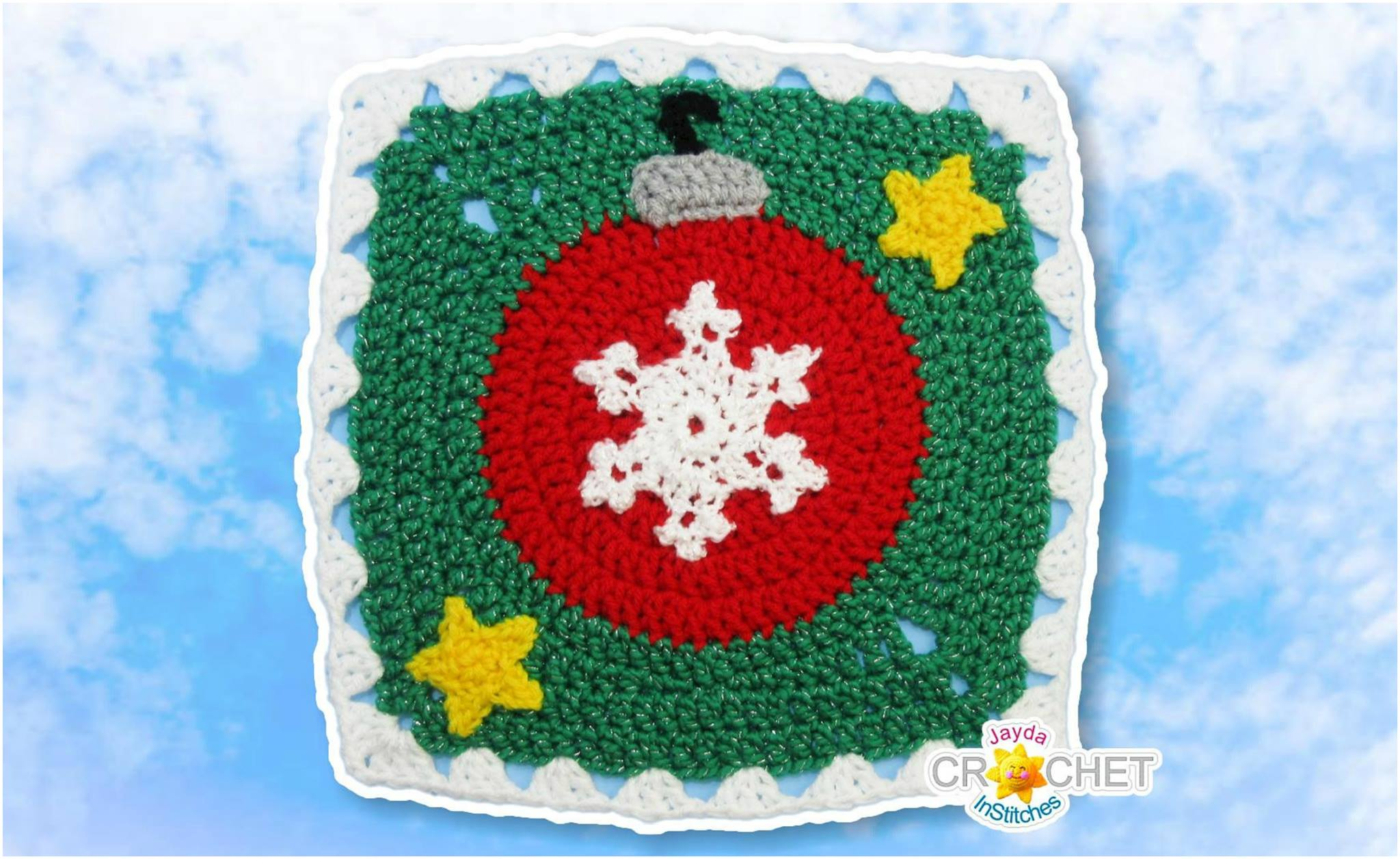 Crochet Bauble Tree Ornament Blanket Square