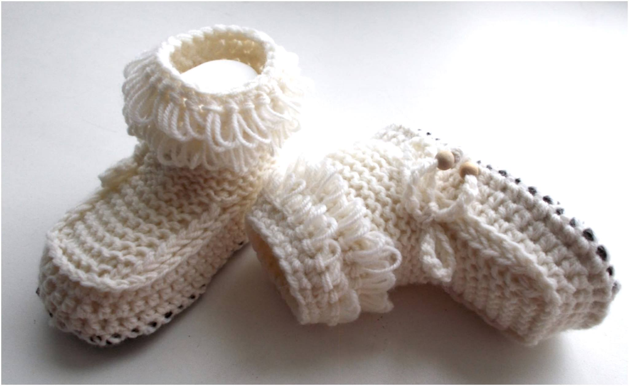 Crochet Leather Sole Booties