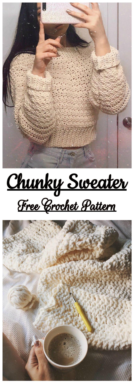 Chunky Sweater Free Crochet Pattern - Yarnandhooks