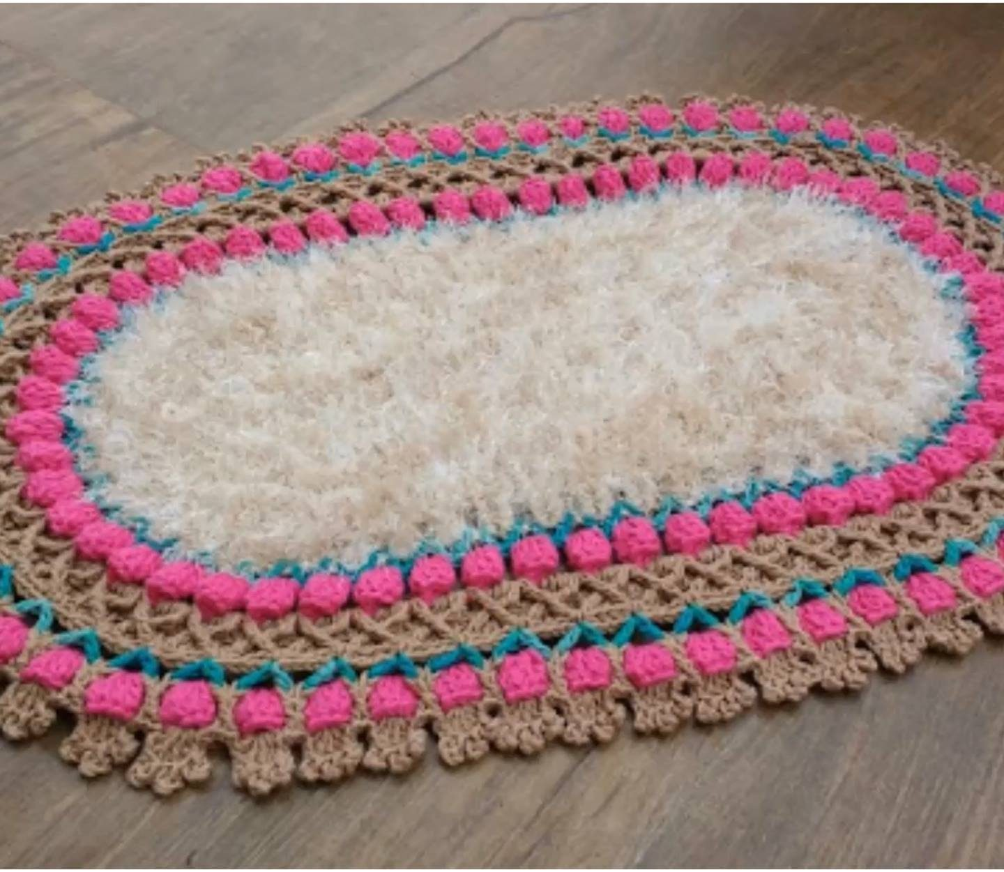 Crochet Tulip Stitch Oval Rug