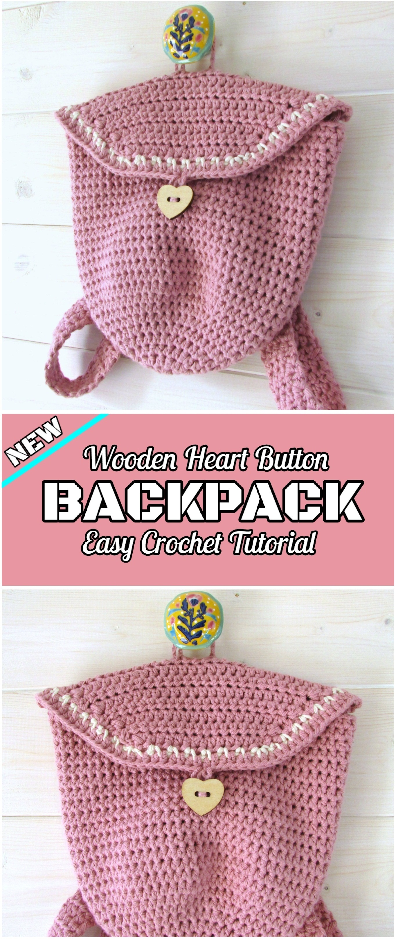 Backpack With Heart Button Crochet Tutorial - Yarnandhooks
