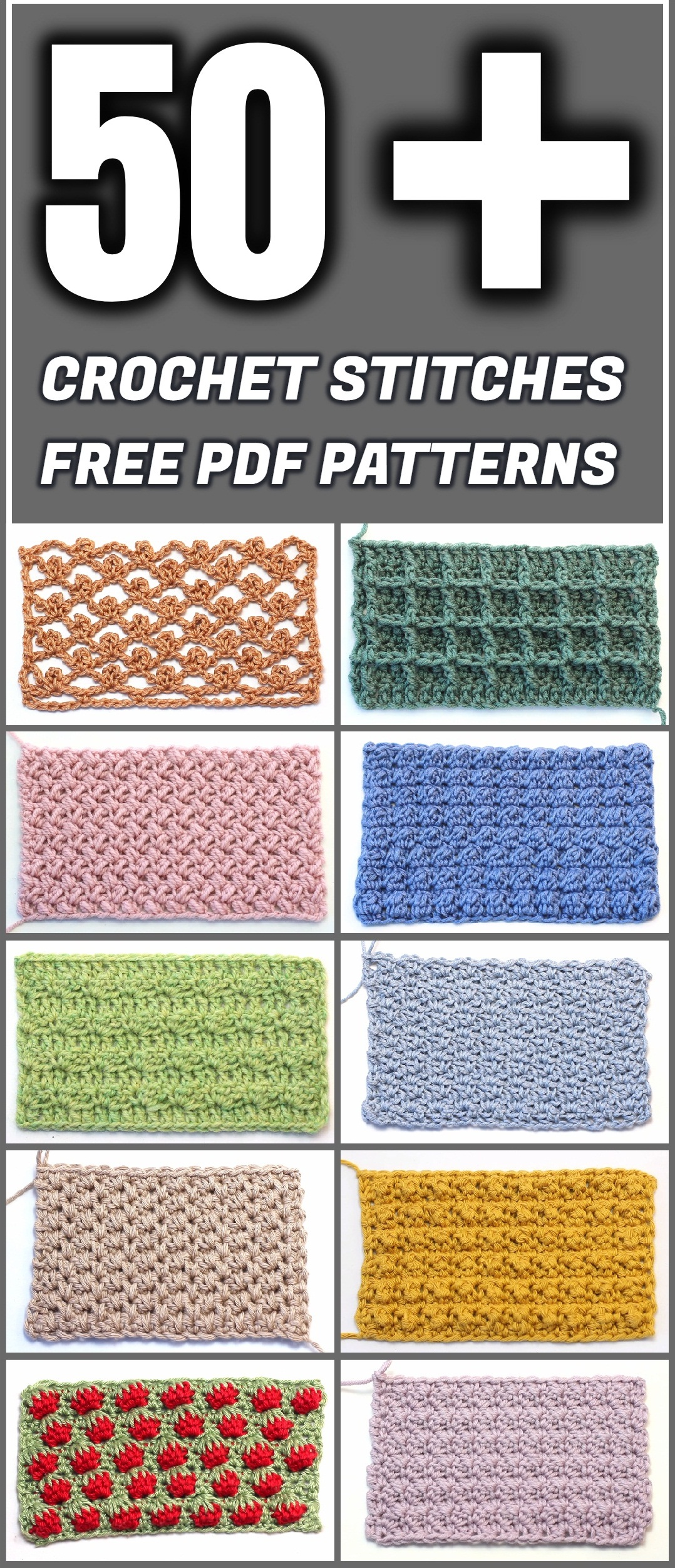 50 Crochet Stitches Free Pdf Patterns Yarn Hooks