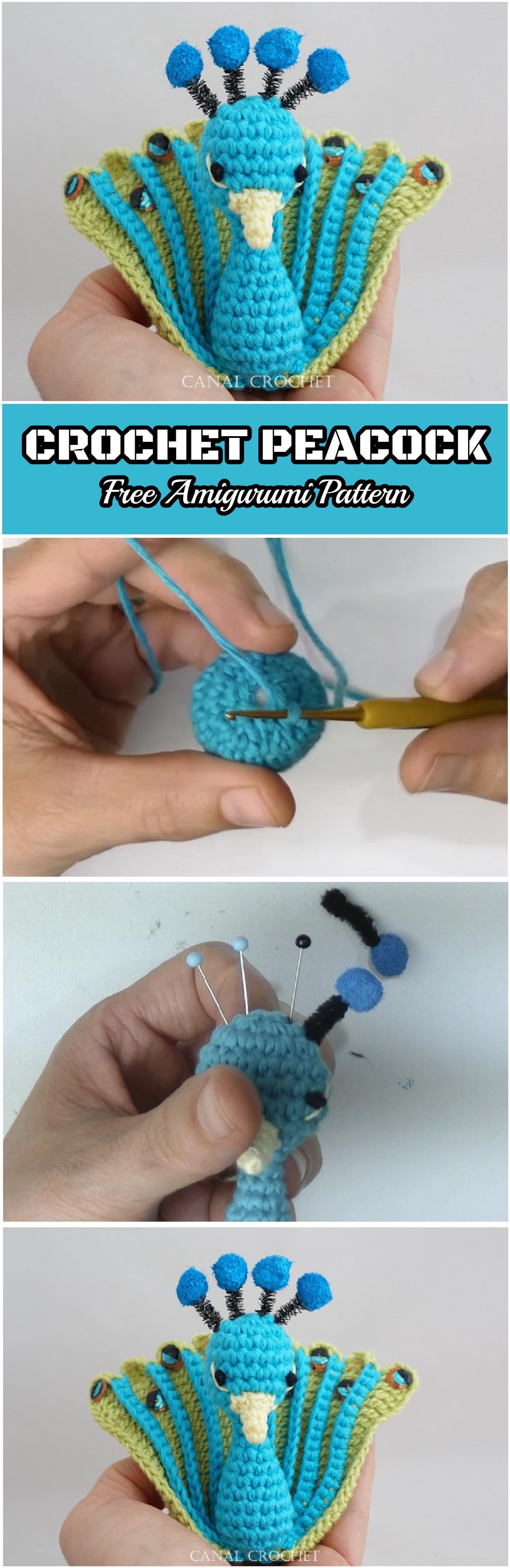 Crochet Peacock Free Amigurumi Pattern Yarn Hooks