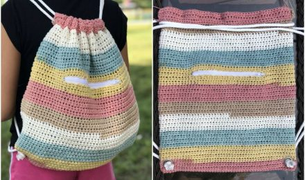 Crochet Colorful Cinch Sack – Free Pattern