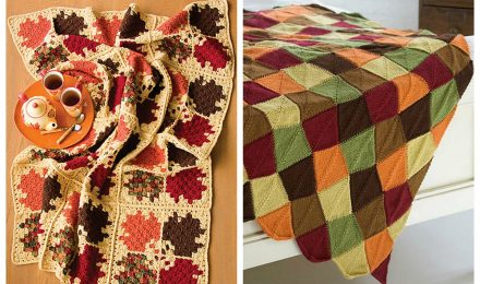 Crochet or Knit Autumn Leaves Blanket