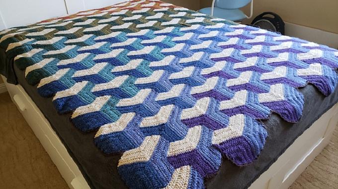 Crochet Tumbling Blocks Pattern Knitting Crochet bedspread