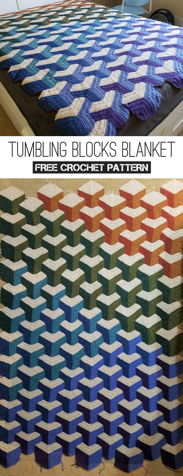 Tumbling Blocks Blanket Free Crochet Pattern
