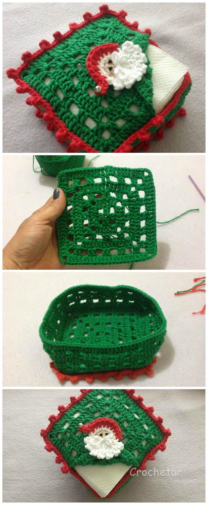 Crochet Christmas Box For Napkins