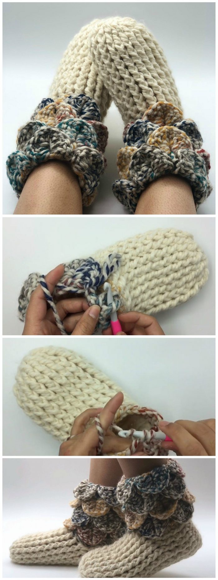 Easy Crochet Slipper Boots For Adults