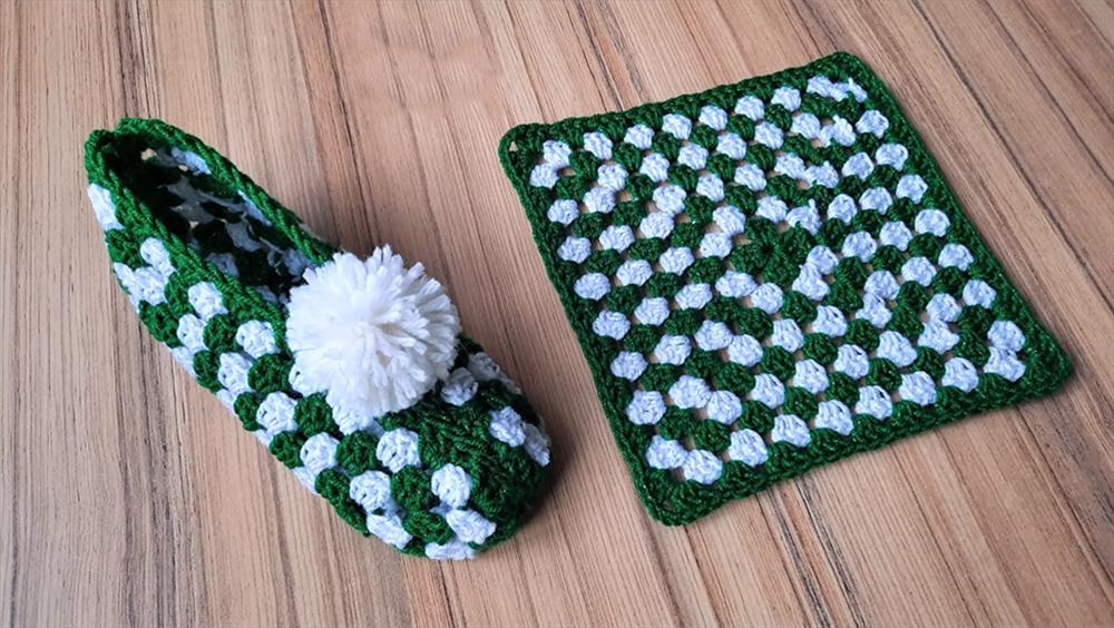 Crochet Simple Granny Square Slippers