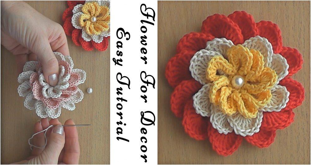 Flower For Decor Easy Crochet Tutorial