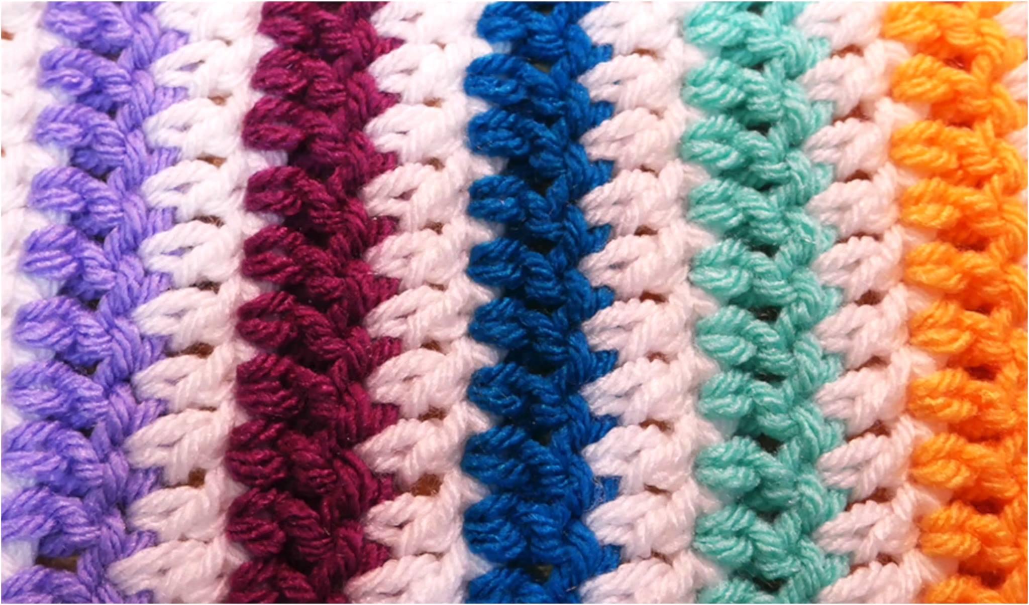 Crochet Rainbow Stripes Blanket/Scarf