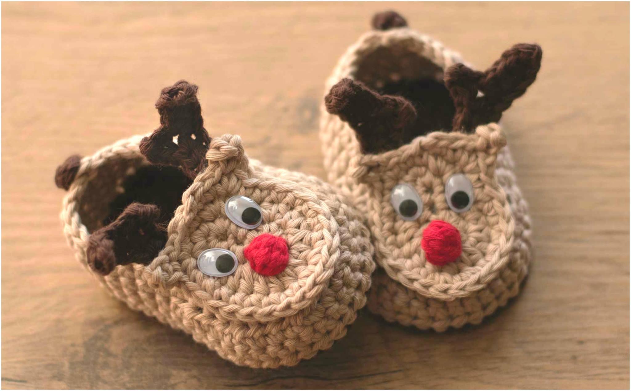 Crochet Rudy The Reindeer Baby Booties