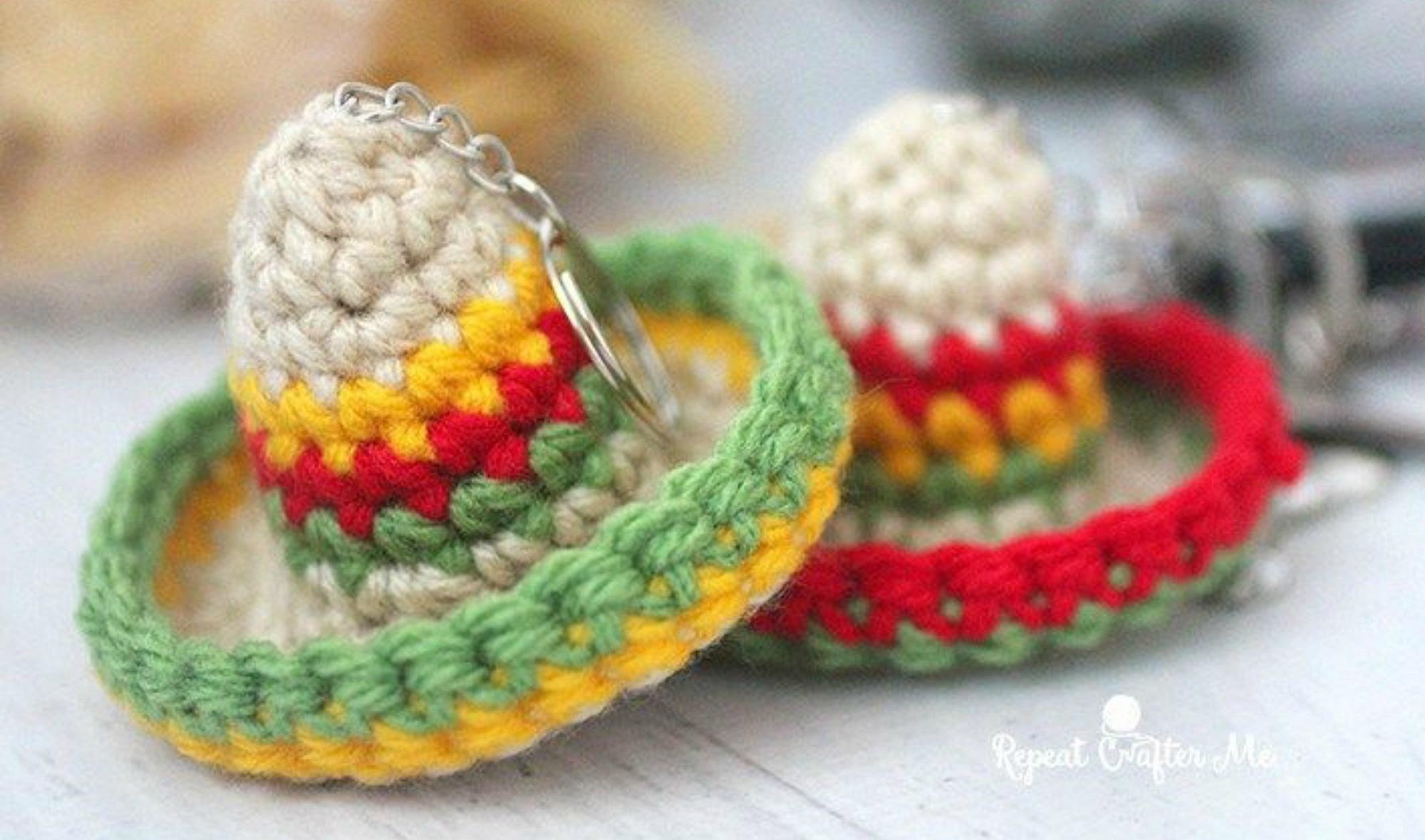 Sombrero Keychain Free Crochet Pattern