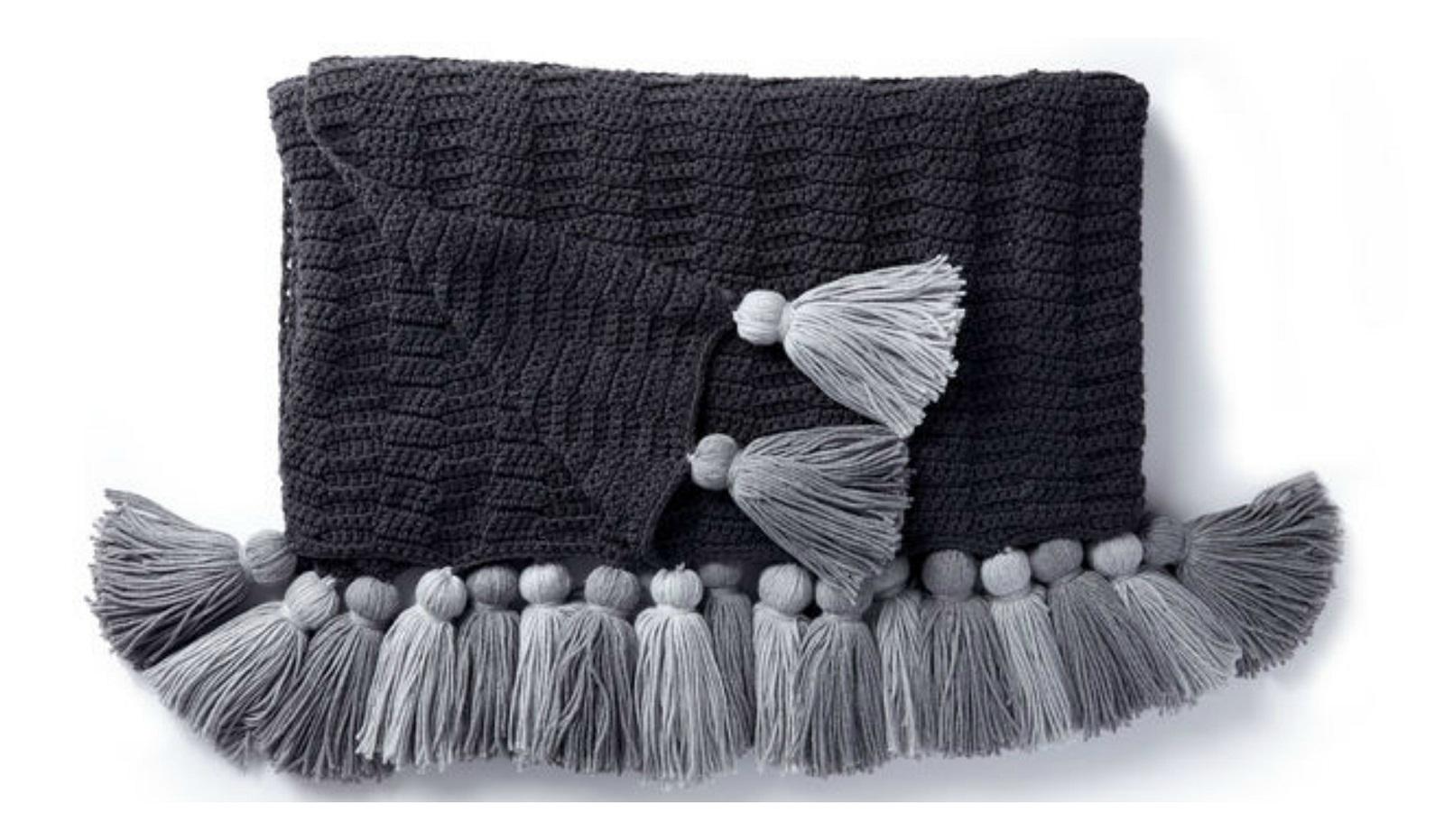 Tasseled Blanket Free Crochet Pattern