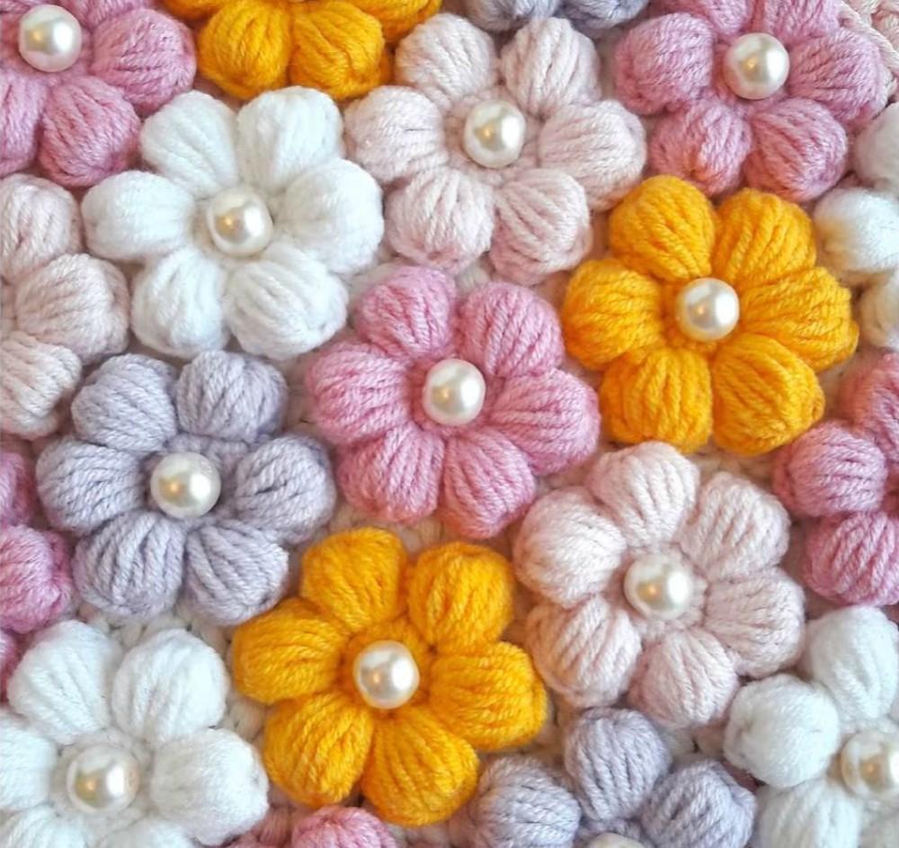 Crochet 3D Puff Flower