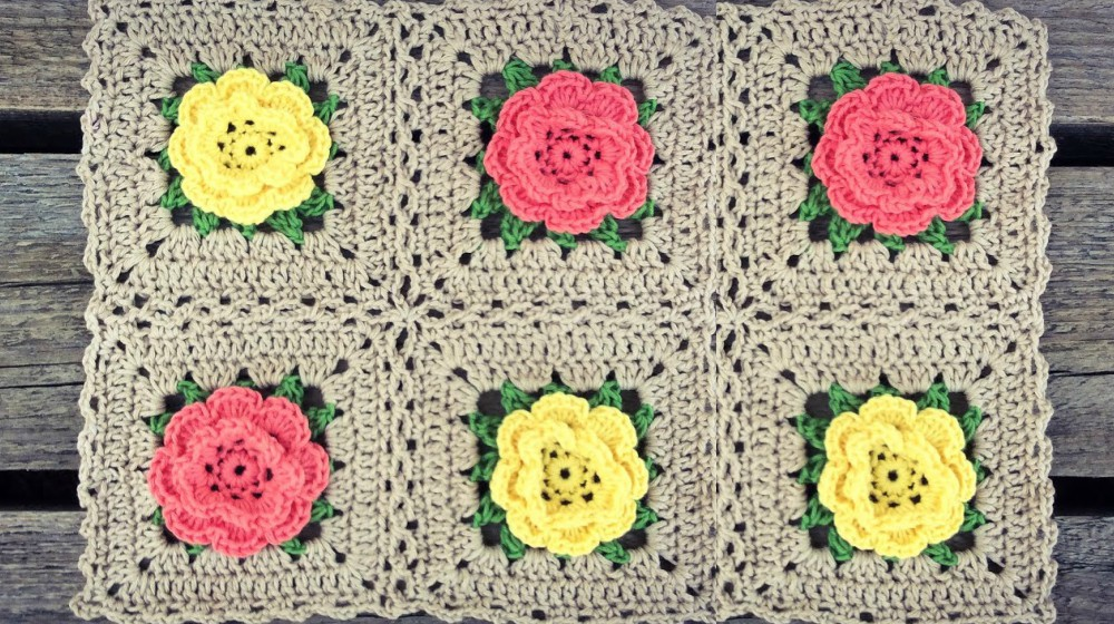 Crochet Rose Flower Square Blanket