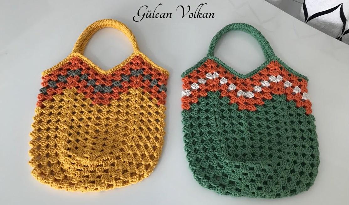 Crochet Granny Stripes Tulip Bag