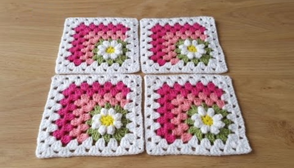 How To Crochet Mitered Daisy Square