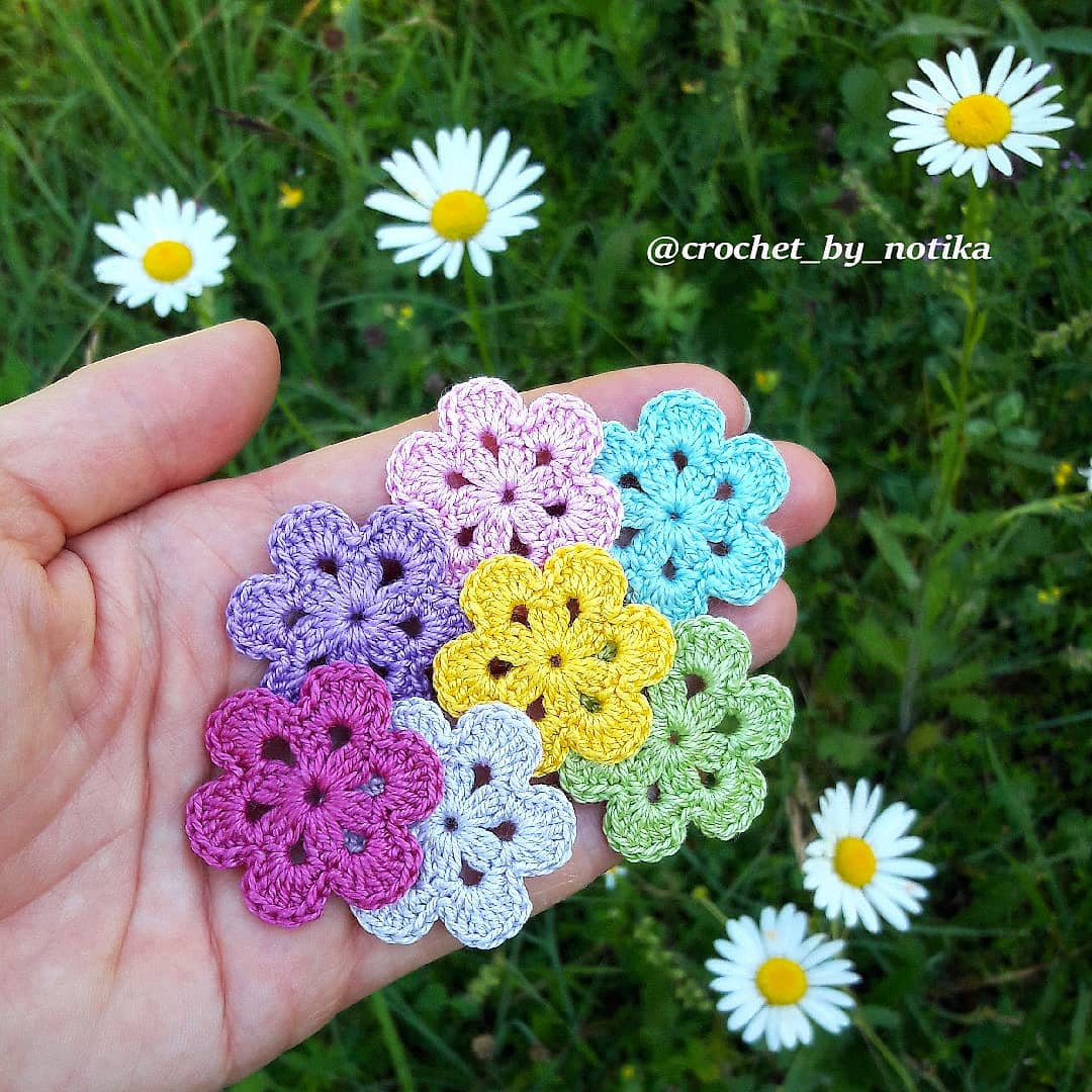 Six Petal Crochet Flower Tutorial