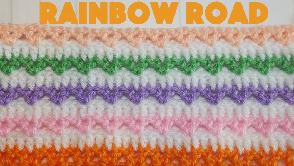 Crochet Rainbow Road Baby Blanket