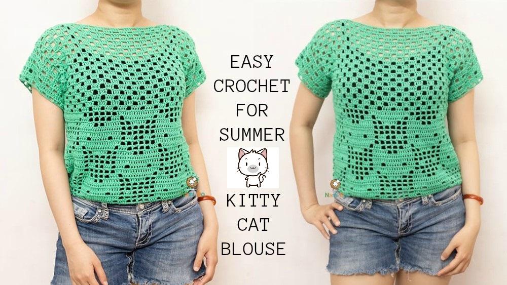 Crochet Kitty Cat Blouse