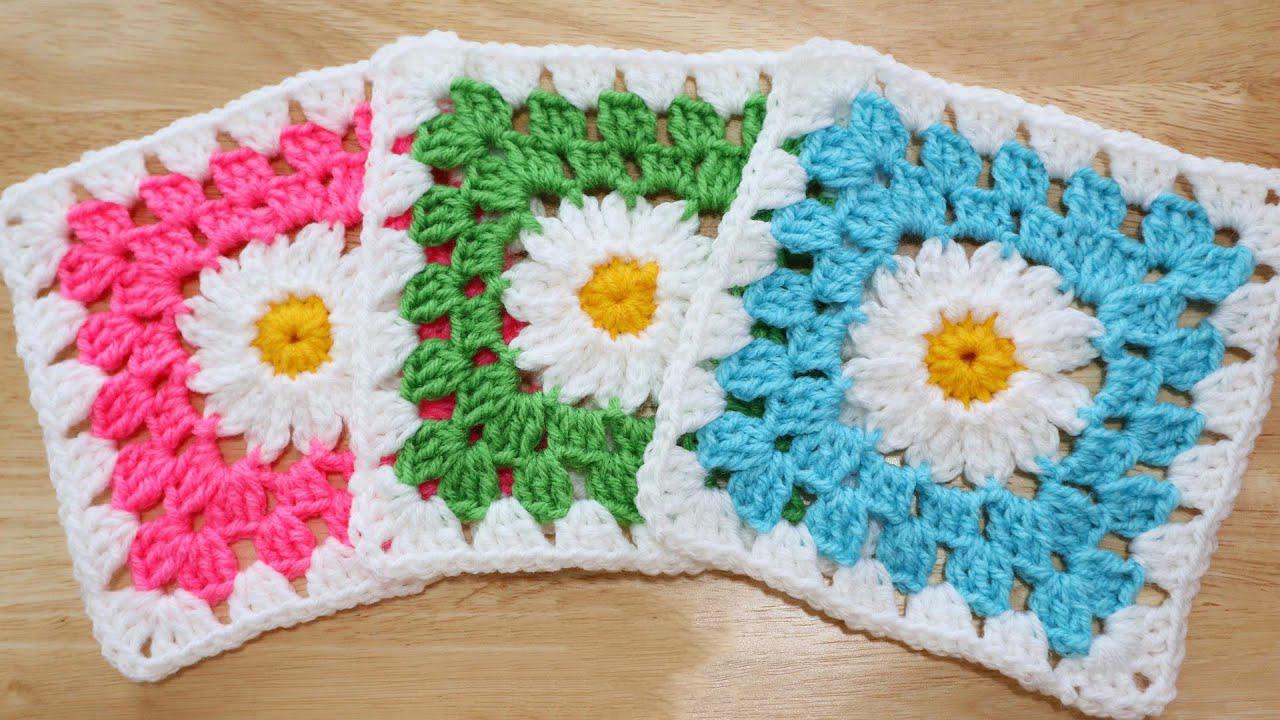 Crochet Daisy Flower Granny Square