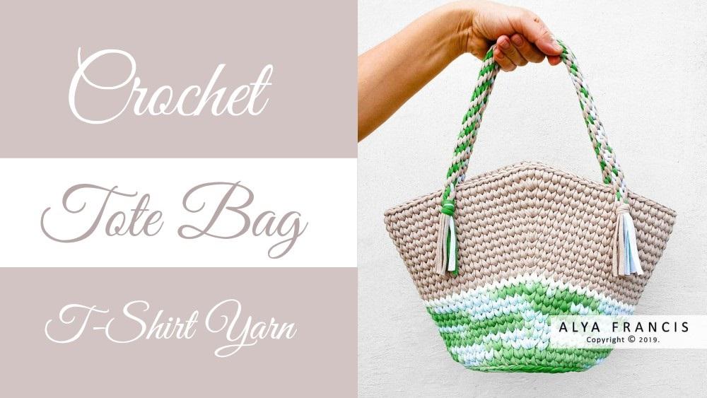 Crochet T-Shirt Yarn Tote Bag