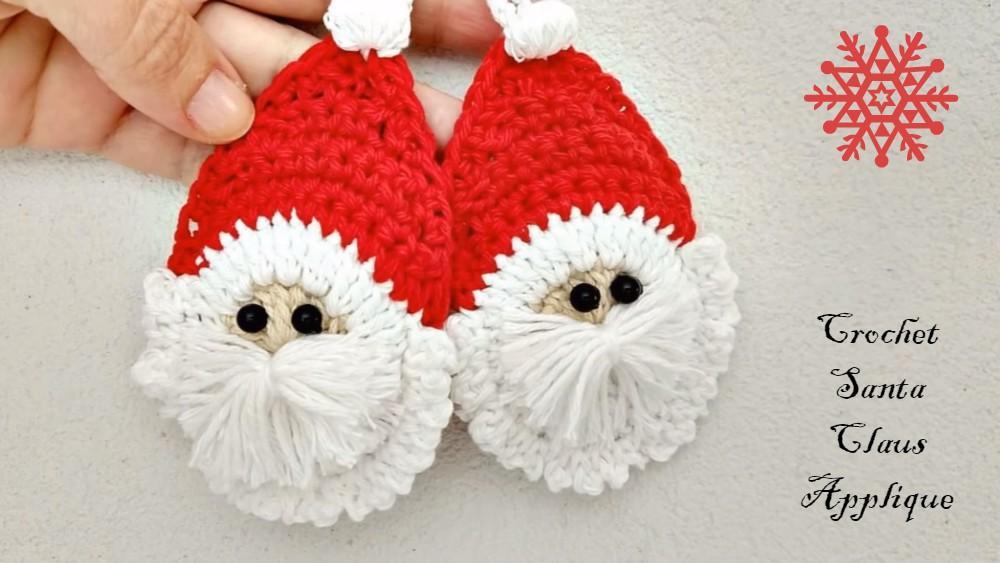 Crochet Santa Applique For Christmas