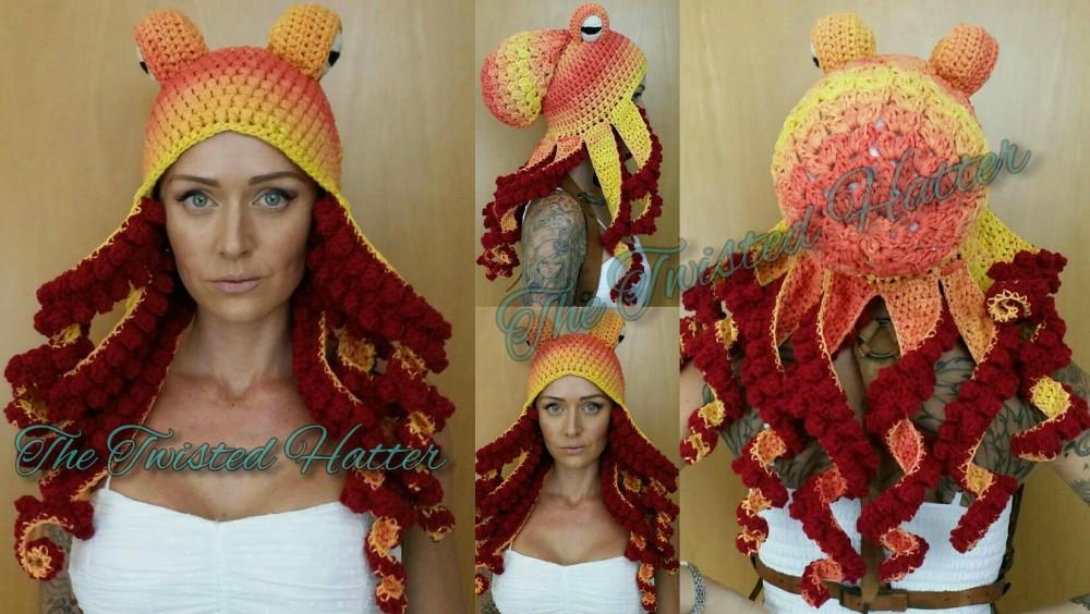 Crochet Twisted Kraken / Octopus Hat
