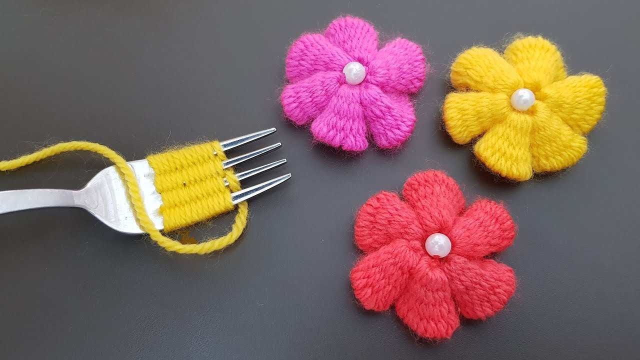 DIY: Easy Flower Embroidery Trick With Fork