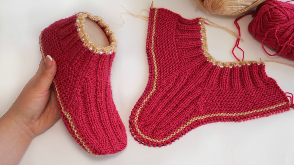 Easy Slipper Socks Knitting Pattern
