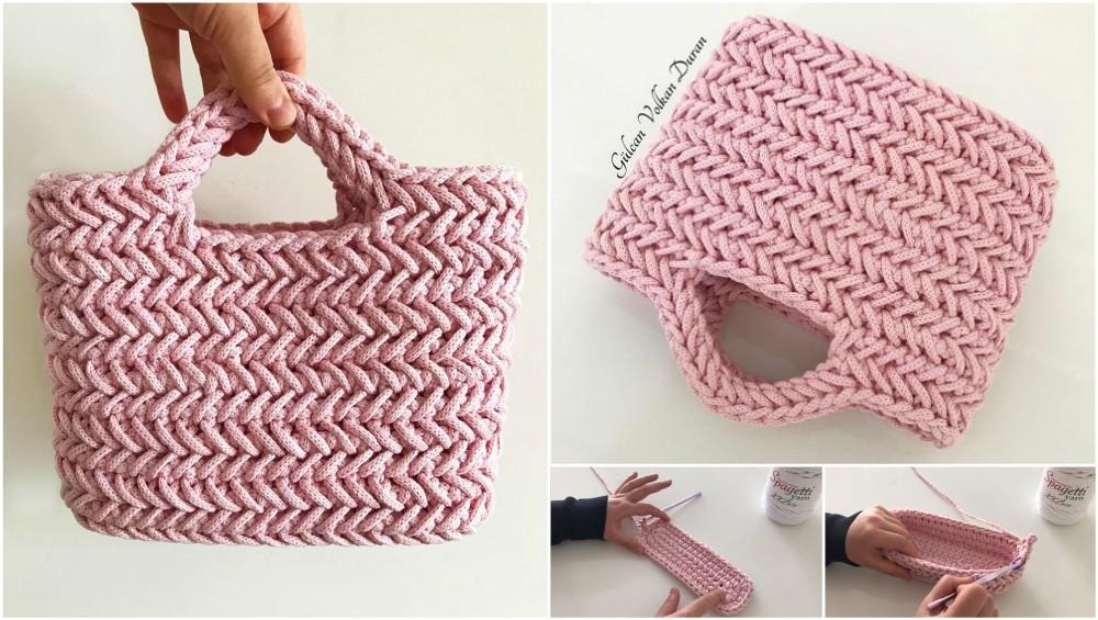 Crochet Herringbone Stitch Handbag