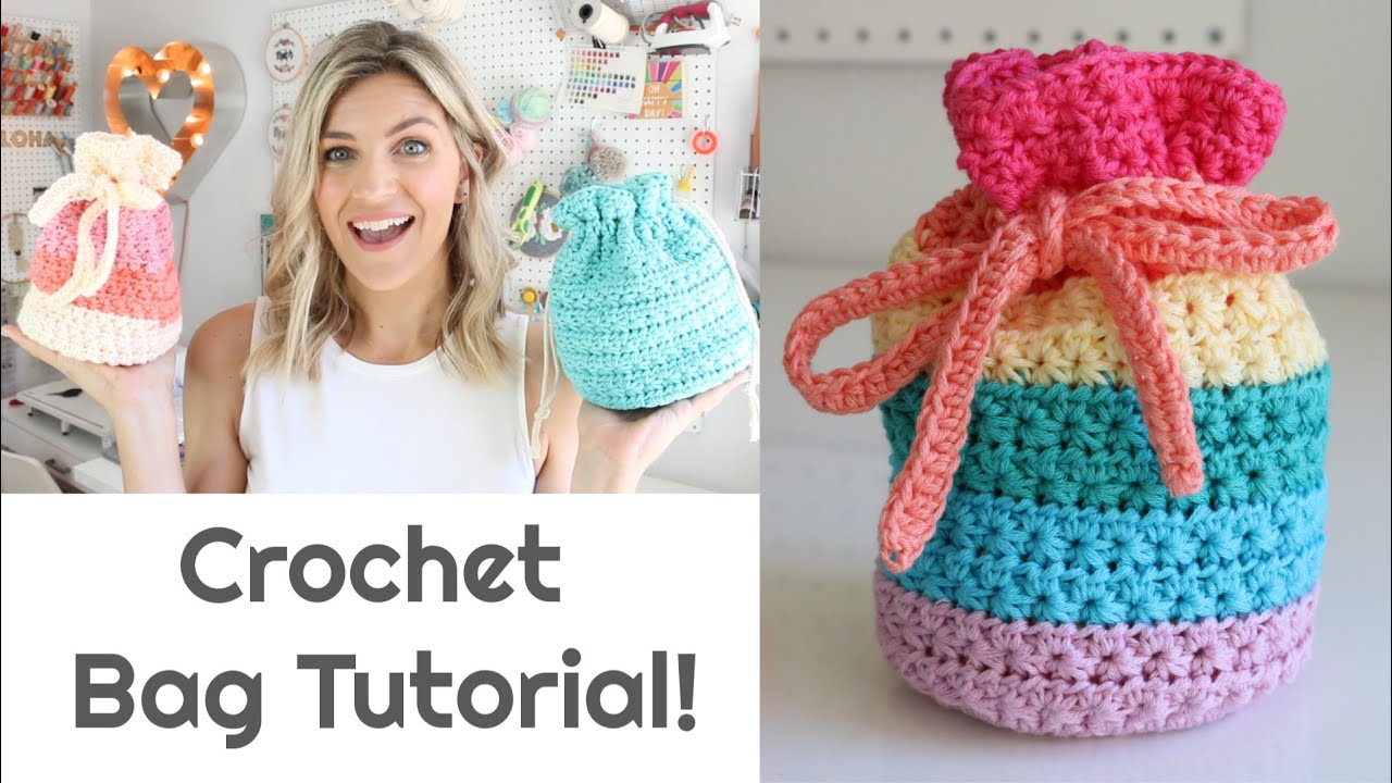 Crochet Star Stitch Drawstring Bag