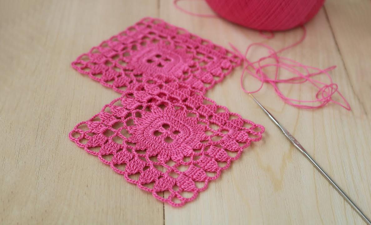 Crochet Easy Lace Square Motif