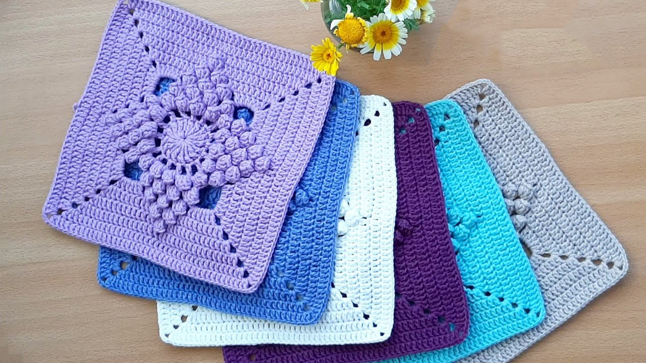 Easy Popcorn Stitch Flower Square