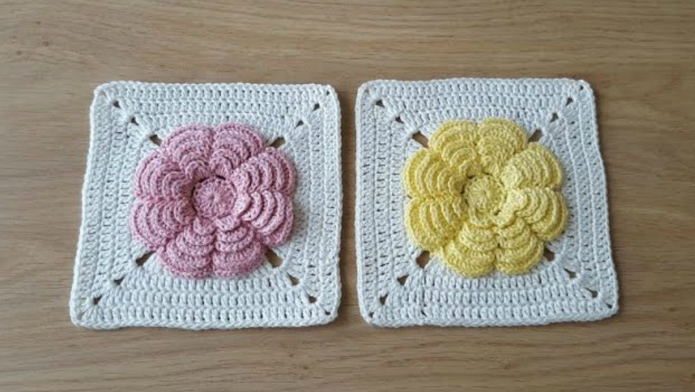 Flower Square Motif Crochet Tutorial