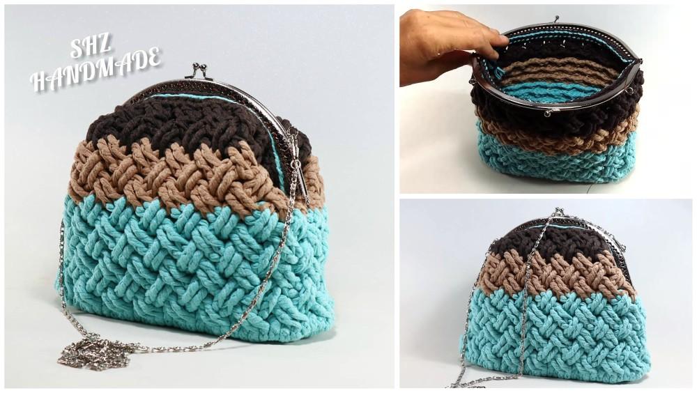 Celtic Cable Stitch Crochet Handbag/Purse