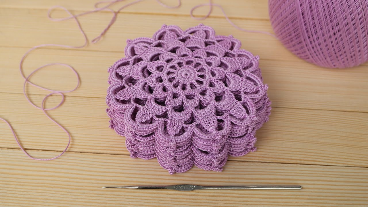 How To Crochet A Round Lace Motif or Coaster