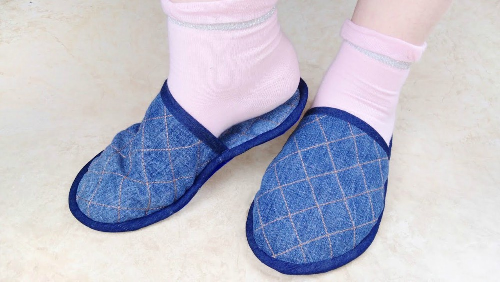 How To Make House Slippers From Old Jeans