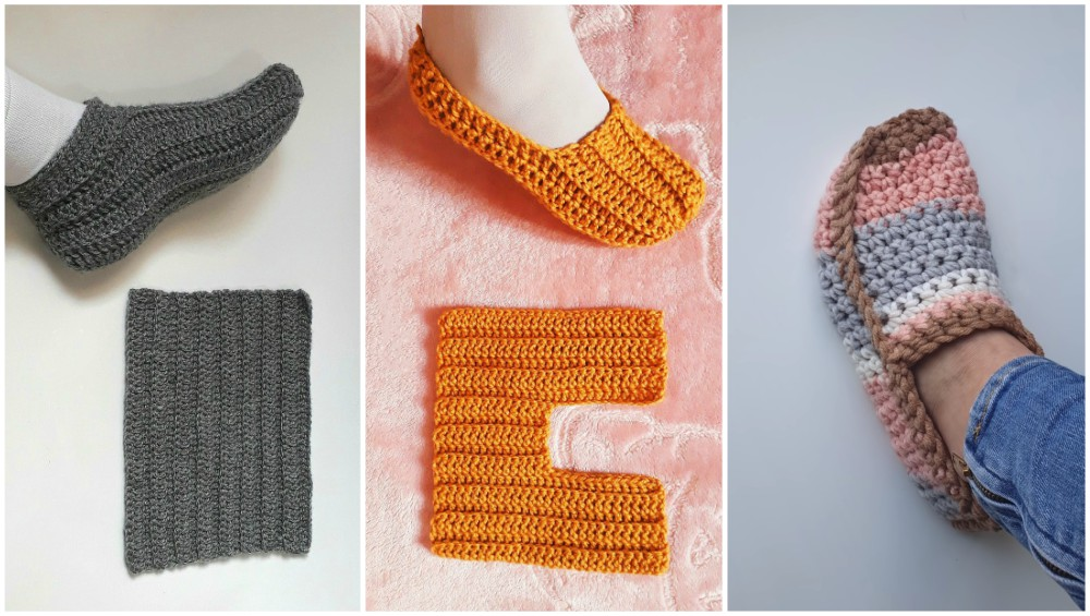 Super Easy Folded Unisex Crochet Slippers