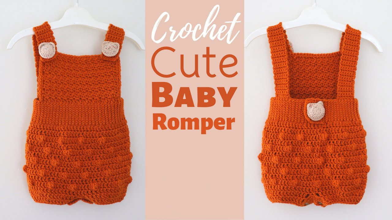 Crochet Bobble Stitch Baby Romper