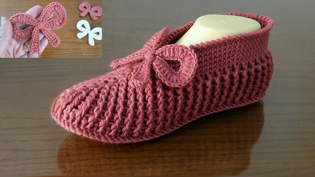 Front Post/Back Post Double Crochet Slippers