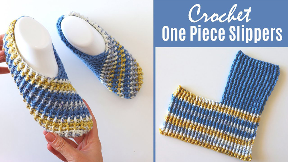 Crochet Easy One Piece Slippers