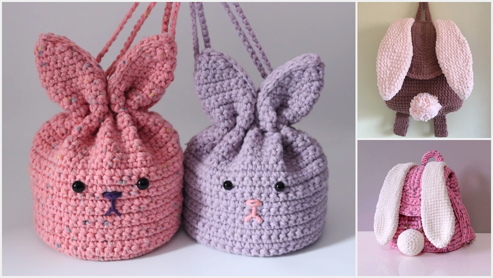 Crochet Easter Bunny Backpack or Pouch For Beginners